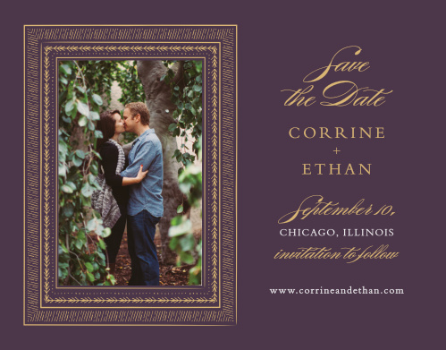 Ornate Frame Foil Save-the-Date Cards ensure that your guests mark their calendars well in advance of your special day.