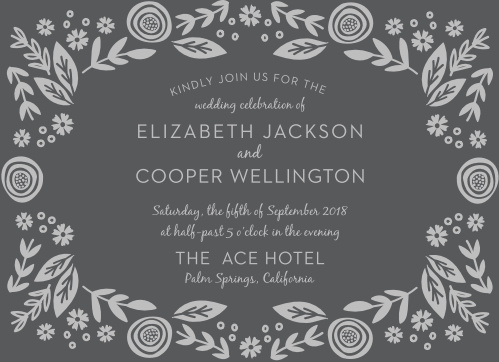 See the whimsical florals and trendy fonts of the Gardens Abound Foil Wedding Invitations in your wedding colors. Add your names and wedding details.