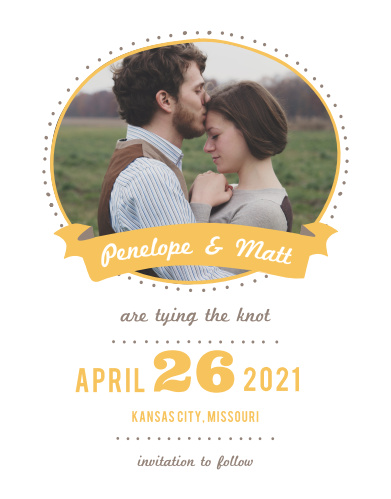 Ensure that your friends and family know when your wedding will be using the Pretty Playfulness Save-the-Date Magnets.