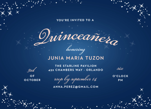 The Sparkle Dust Quinceañera Party Invitations are artfully dusted with illustrations of sparkles across a luminous background that has a caribbean blue center slowly transitioning into a deep sea blue.