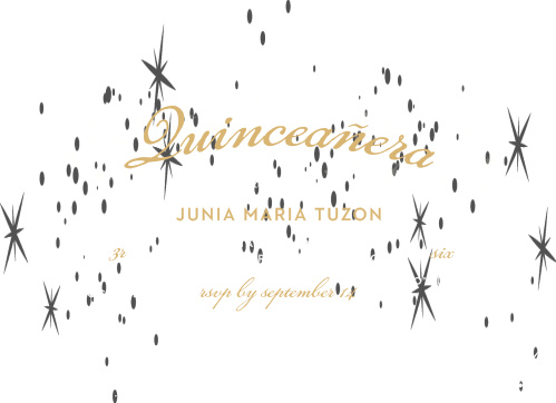 The Sparkle Dust Foil Quinceañera Party Invitations are artfully dusted with illustrations of sparkles across a luminous background that has a french grey center slowly transitioning into a rich black.