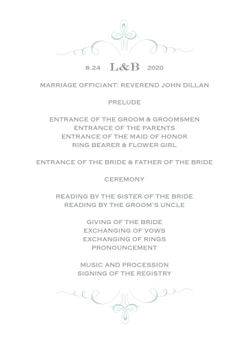 Prim & Proper Wedding Programs are the perfect choice for ensuring that your guests can follow along with the moments and members of your wedding ceremony.