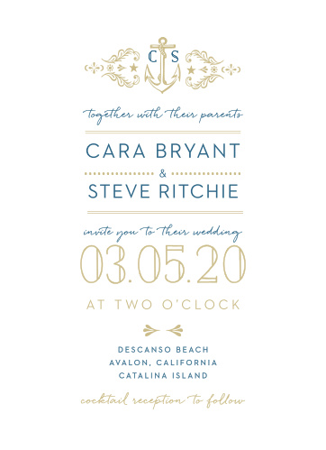 Love can be very much like the sea, unyielding, breathtaking, and even rocky at times, the High Seas Wedding Invitations perfectly encompass this notion with their vintage, nautical design.