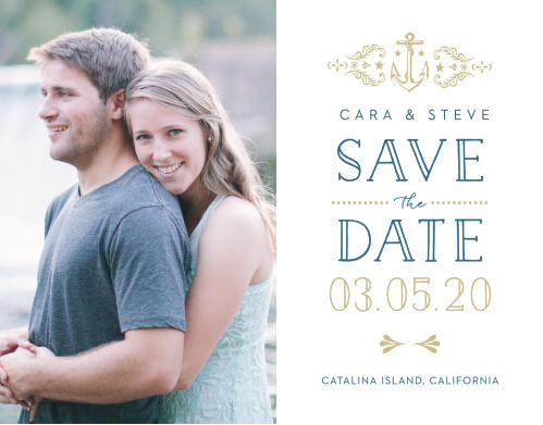 Love can be very much like the sea, unyielding, breathtaking, and even rocky at times, the High Seas Save-the-Date Magnets perfectly encompass this notion with their vintage, nautical design.