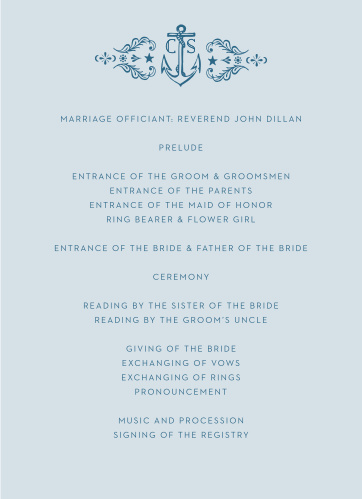 Love can be very much like the sea, unyielding, breathtaking, and even rocky at times, the High Seas Wedding Programs perfectly encompass this notion with their vintage, nautical design.