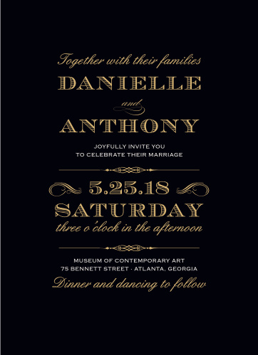 The Lovely Vintage Foil Wedding Invitations convey your wedding details with the style of times gone by.