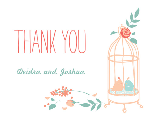 The Love Birds Thank You Cards will give your guests the illusion of being in an enchanted garden, rousing in them feelings of both wonder and delight.