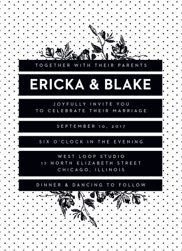 High Contrast Wedding Invitations feature a lovely cross between modern design and retro style: with a polka-dotted background, midnight black boxes containing all of your invitational text in white, and bouquets of black flowers growing form the top and bottom, these gorgeous cards are the perfect representatives for your wedding.