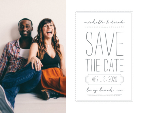 A careful combination of pseudo silver and dolphin grey done up in frames and varying fonts beside your engagement photo gives the Keep It Simple Save-the-Date Cards a modern, sophisticated feel, while still maintaining its minimalist design.
