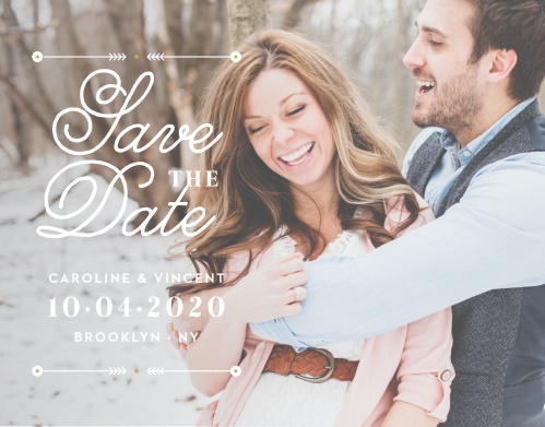 Vintage accents border an elegant swirling script atop your gorgeous engagement photo for our Modern Story Save-the-Date Cards.