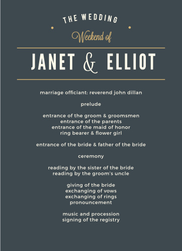 Crossing the Bridge Foil Wedding Programs help your guests keep track of every moment during your wedding day.
