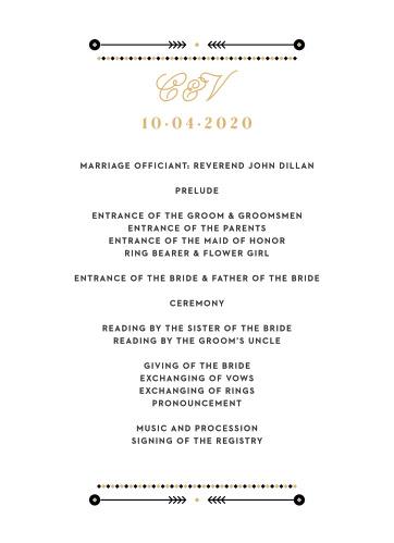 A gold foiled script titles our Modern Story Foil Wedding Programs, and all of the text is confined within a few layered, artful accents, further decorating the simple card.
