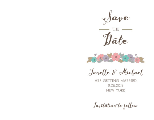 A lovely ballet pink descends seamlessly to white aside your engagement photo on the Proper Painterly Save-the-Date Cards.