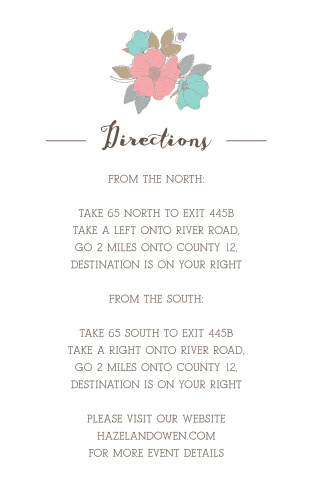 Your guests direction information is done up in a pseudo bronze, dressed up with a fairytale-esque script heading.
