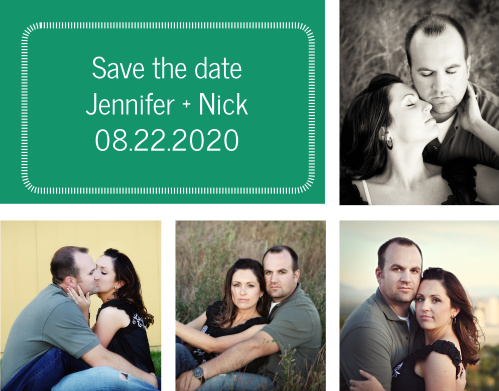 Share with everyone the news of your upcoming nuptials with a photo collage save-the-date card.