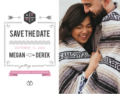 Ensure that your friends and family know when your wedding will be using the Just My Type Save-the-Date Cards.