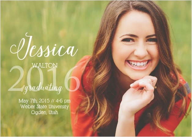 The Simplicity Graduation Announcement has everything you love about the portrait style but adds the benefit of more line space.