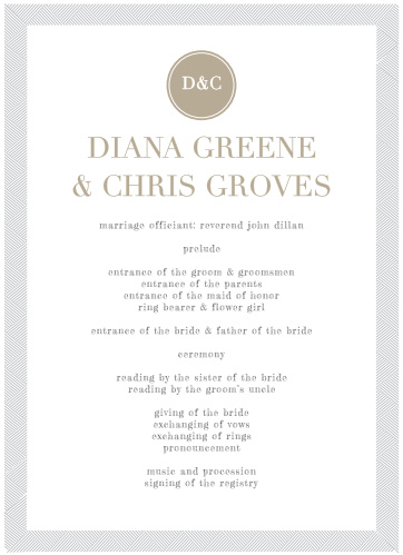 Our Simply Modern Wedding Programs are a part of the Love Vs. Design collection by Basic Invite.