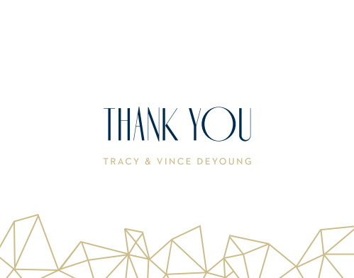 Pseudo gold diamonds are tastefully scattered across the bottom of the Modern Deco Thank You Cards.