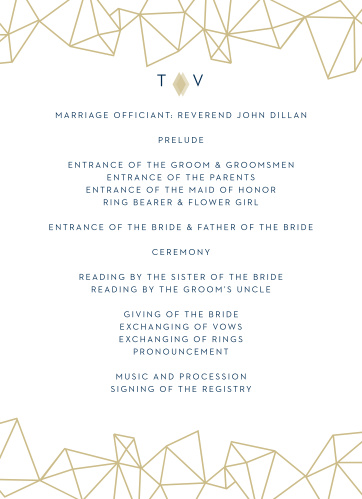 Retro, pseudo gold diamonds are tastefully scattered across the edges of the Modern Deco Wedding Programs, with a simple, modern monogram decorating the front and back.
