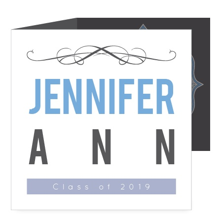 The Flourished Photo Tri Fold Graduation Announcement is a square tri-fold announcement with plenty of space for photos and text.