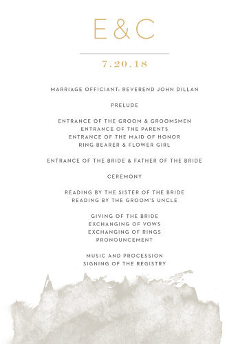Guide your guests through each beautiful moment in your ceremony with our Modern Gold Foil Wedding Programs.