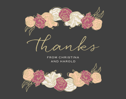 Stunning, multi-colored, rose blooms with gold accents adorn the Elegant Blooms Thank You Cards.