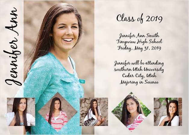 The Memory Squares Graduation Announcement is a single sided 5x7 card perfect for any graduate.