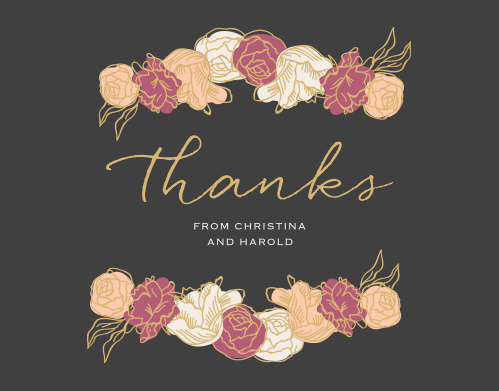 Stunning, multi-colored, rose blooms with gold foiled accents adorn the Elegant Blooms Foil Thank You Cards.