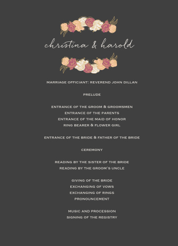 Stunning, multi-colored, rose blooms with gold foiled accents adorn the edges of the Elegant Blooms Foil Wedding Programs.