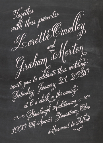 Chalkboard wedding invitations match your color style free elegant chalkboard wedding invitations filmwisefo