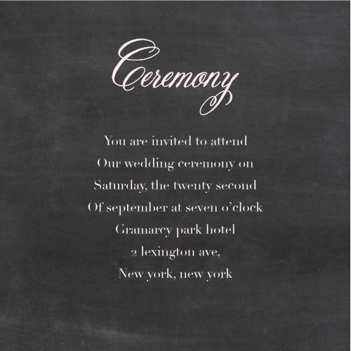 Make sure your guests know the ceremony details using the Elegant Chalkboard Ceremony Cards.