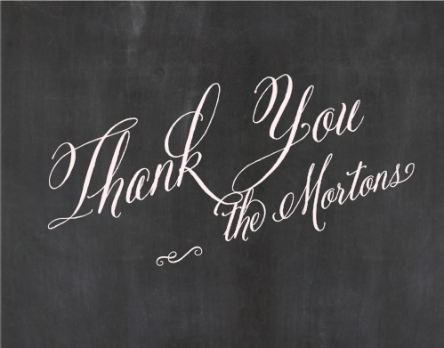 Make sure your guests know how much you appreciate them using the Elegant Chalkboard Thank You Cards.