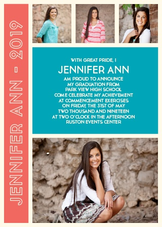 This stylish combination of photos and text is called the The Fine Lines Graduation Announcement.