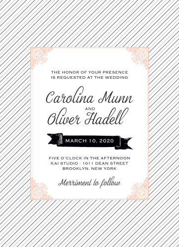 The Fine Line Wedding Invitations have a fine, bittersweet pink frame, edged in a victorian design sitting atop a delicate black and white striped background.