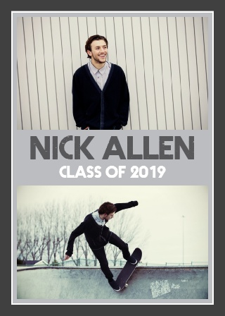 The Banner Year Graduation Announcement is a double side invite with the graduate's name front and center on the invite with a photo of them above and below.