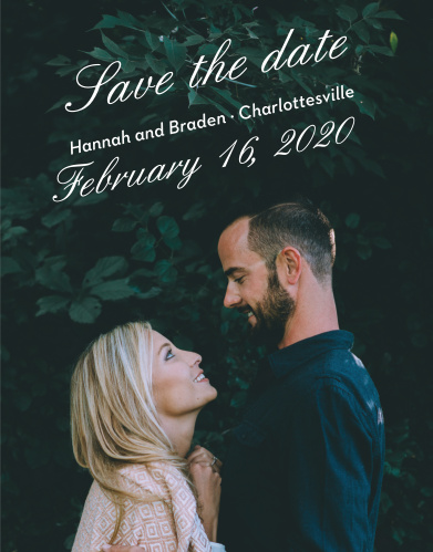 Ensure that your friends and family know when your wedding will be using the Fresh Breeze Save-the-Date Cards.