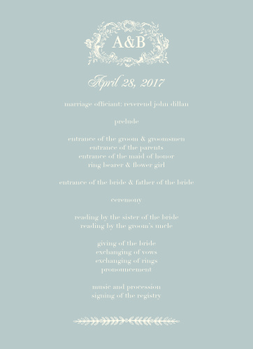 Let your guest know what to expect at your wedding using the In Cursive Wedding Programs.