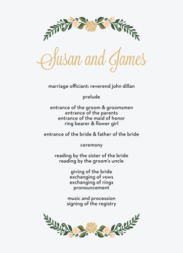 Introduce your wedding party in a romantic fashion with the Laurel Crown Foil Wedding Programs.
