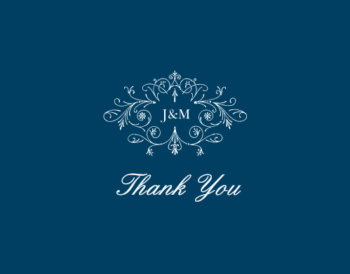 The Sweet Antiquity Thank You Cards are simple in coloring and ornate in design.
