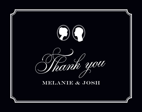 Make sure your guests know how much you appreciate them using the Stately Silhouette Wedding Thank You Cards.