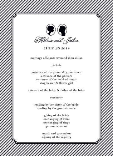 Let your guest know what to expect at your wedding using the Stately Silhouette Wedding Programs.