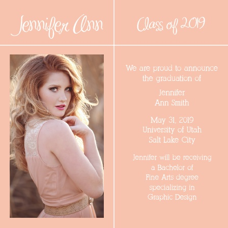 The Square Crossroads Graduation Announcement has a simple sleek design that lends itself perfectly to almost any style.