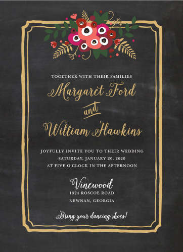 Dust off your address book and send out our Chalkboard Blossom Foil Wedding Invitations to every loved one.