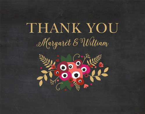 Show your guests your appreciation with our beautifully vintage Chalkboard Blossom Foil Thank You Cards.