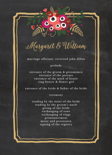 Elegantly framed by an ornate, gold foil rectangle and topped with a gorgeous bouquet of multicolored flowers, these Chalkboard Blossom Foil Wedding Programs are perfect for guiding your guests through each event in your ceremony.