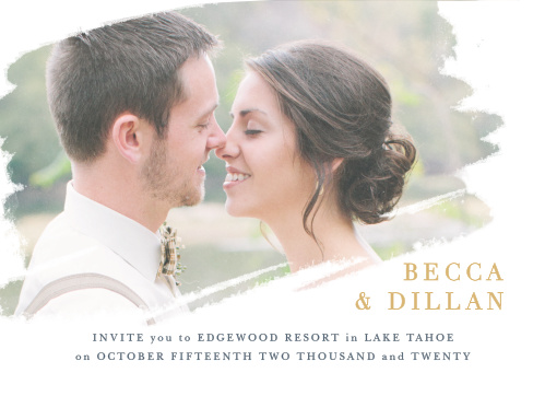 The Brushstroke Bliss Foil Wedding Invitations artistically display your engagement photo on the front of its design.