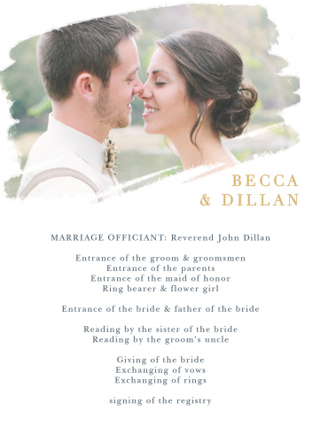 The Brushstroke Bliss Foil Wedding Programs organize your ceremony with elegant simplicity.