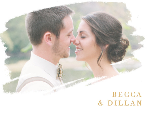Your wedding photo is artistically displayed on the Brushstroke Bliss Foil Thank You Cards.