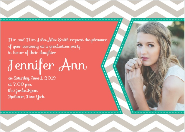 The Chevron Ribbon Graduation Announcement is a great way to tell your friends and family about your upcoming gradation.